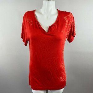 Kuhl Red Orange Floral Printed Basic T-Shirt
